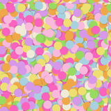 Festive seamless pattern with confectionery sprinkling. Random mess repeated texture of pink, yellow, purple color. Bright and colorful vector background Royalty Free Stock Images