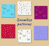 Festive seamless pattern consist of stars and bows. Vector Stock Photos