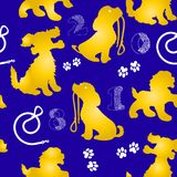 Festive Seamless Pattern cute orange dogs, on blue background,. Festive Seamless Pattern 2018,cute orange dogs, on blue background, figures,vector Stock Photo