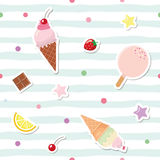 Festive seamless pattern with cute stickers on striped background. For birthday and scrapbook design. Vector Stock Photography
