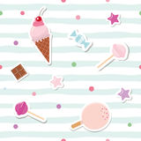 Festive seamless pattern with cute stickers on striped background. For birthday and scrapbook design. Vector Stock Image
