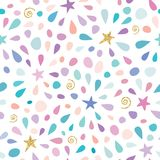 Festive seamless pattern with glitter confetti, stars and splashes. For birthday celebration. Vector. Illustration Stock Photography