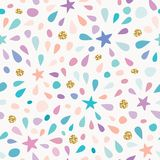 Festive seamless pattern with glitter confetti, stars and splashes. For birthday celebration. Vector. Illustration vector illustration