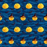 Festive seamless pattern. Halloween characters jack o lantern, witch hat, bat on dark blue grunge background. Vector illustration. Usable for design, packaging Stock Photo