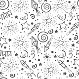 Festive seamless pattern. Hand drawn doodle holidays elements. Black and white background. Vector illustration Stock Images