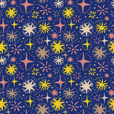 Festive seamless pattern with hand drawn holiday lights. Colorful sketch stars, vector illustration Royalty Free Stock Photography