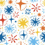 Festive seamless pattern with hand drawn holiday lights. Colorful sketch stars, vector illustration Stock Photos