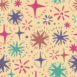 Festive seamless pattern with hand drawn holiday lights. Colorful sketch stars, vector illustration Stock Images