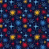 Festive seamless pattern with hand drawn holiday lights. Colorful sketch stars, vector illustration Stock Photo