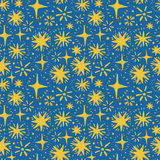 Festive seamless pattern with hand drawn holiday lights. Sketch stars, vector illustration Royalty Free Stock Images