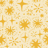 Festive seamless pattern with hand drawn holiday lights. Sketch stars, vector illustration Royalty Free Stock Photo
