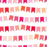 Festive seamless pattern with hanging flags cut from paper. Endless texture for your design, greeting cards, wedding announcements, posters Royalty Free Stock Photography