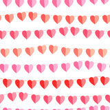 Festive seamless pattern with hanging hearts cut from paper. Royalty Free Stock Photography