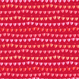 Festive seamless pattern with hanging hearts cut from paper. Stock Photography