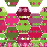 Festive seamless pattern hexagon and Christmas. Snowflakes. Pink, purple, green background Stock Images
