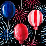 Festive seamless pattern in honor of Independence Day. Bright fireworks and balloons painted in colors of the American flag on a black background Stock Photos