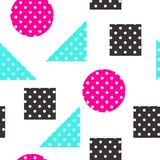 Festive Background in Memphis Style. Festive Seamless Pattern in Memphis Pop Art Style Colorful Decorative Wallpaper with Simple Bold Block, geometric shapes Royalty Free Stock Image