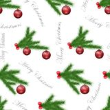 Festive seamless pattern with pine branches, christmas tree ball ornaments and gray text on white isolated background. stock illustration