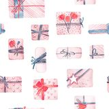 Festive seamless pattern. Print packaging for gift. Cute vintage. Background. Watercolor handmade Stock Images