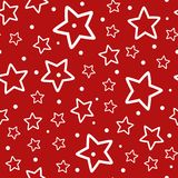 Festive seamless pattern. Repeated outlines of white stars and polka dots on red background. Vector illustration Stock Photos