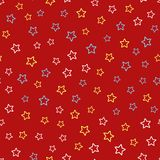Festive seamless pattern with scattered outlines of stars. Cute colorful vector illustration Royalty Free Stock Photos