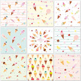 Festive seamless pattern set with sweets. Ice cream summer theme. Vector Royalty Free Stock Images