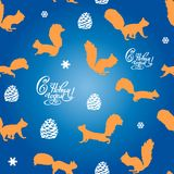 Festive seamless pattern of squirrel and snowflakes and an inscr. Iption with a new year, on a blue background, vector Royalty Free Stock Photos