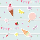 Festive seamless pattern with sweets and garlands. Festive seamless pattern with sweets bunting flags Stock Photos