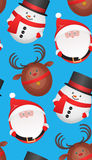 Festive seamless texture with toys reindeer, Santa Claus. Snowman. Vector background for your creativity Stock Image