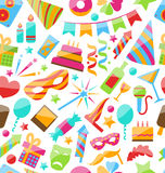 Festive Seamless Wallpaper with Carnival. Illustration Festive Seamless Wallpaper with Carnival and Party Colorful Icons and Objects - Vector Royalty Free Stock Photos