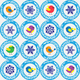 Festive seamless winter pattern with birds, snowflakes. And balls-vector Stock Photography