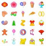 Festive season icons set, cartoon style. Festive season icons set. Cartoon set of 25 festive season vector icons for web isolated on white background Stock Photos