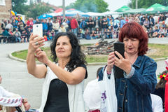 Festive Selfie at the Nestinarski Games in Bulgaria Stock Image