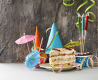 Festive set for birthday party - candles, desserts Royalty Free Stock Photography