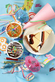 Festive set for birthday party - candles, desserts Royalty Free Stock Images