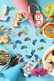 Festive set for birthday party - candles, desserts Royalty Free Stock Photo