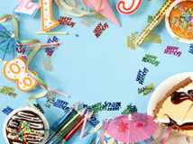 Festive set for birthday party - candles, desserts Royalty Free Stock Image