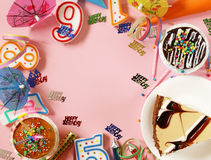 Festive set for birthday party - candles, desserts Stock Photo