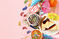 Festive set for birthday party - candles, desserts Stock Photos