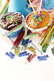 Festive set for birthday party - candles, desserts Royalty Free Stock Photos