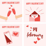 Festive set of 4 cards for Valentine's Day.. Cute flat vector graphics in red and pink colors Royalty Free Stock Image