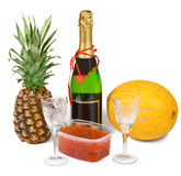Festive set with champagne and caviar Royalty Free Stock Photography