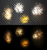 Festive set firework bursting various shapes. Abstract festive set firework bursting various shapes sparkling against isolated transparency checker and black Stock Photos