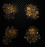 Festive Set Fireworks Salute on Transparent Background. Illustration Festive Set Fireworks Salute on Transparent Background - Vector Royalty Free Stock Image