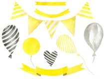 Festive set of flags, balloons and ribbons on a white background Watercolor hand painted birthday clipart