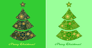 Festive set of  green cards with Christmas trees. Stock Image
