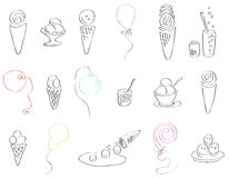 Festive set of ice cream and balloons Stock Photos