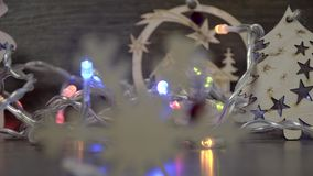 Festive set of objects for a warm evening with family, changing focus stock footage