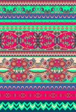 Festive set of seamless ornamental floral and geometric stripes. Print for fabric. Vector illustration Royalty Free Stock Image