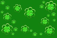 Festive shamrocks. Vintage silver & enamel shamrock as festive background Stock Photo
